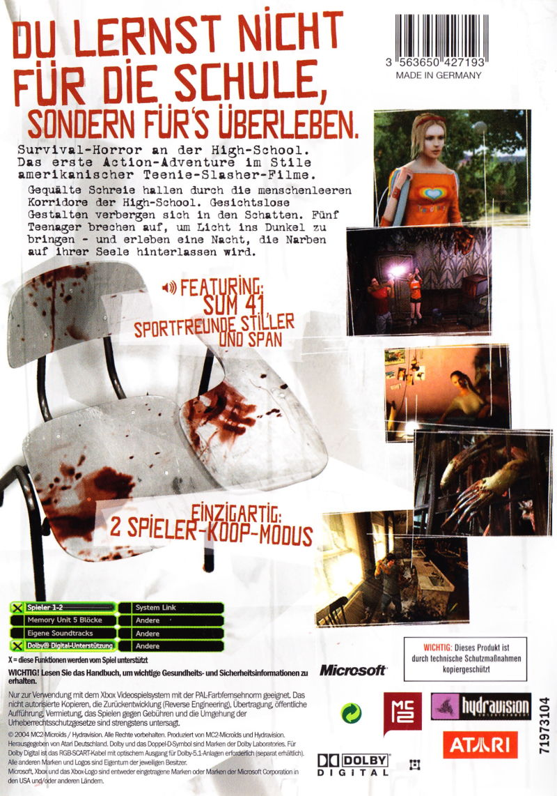 ObsCure Xbox Back Cover
