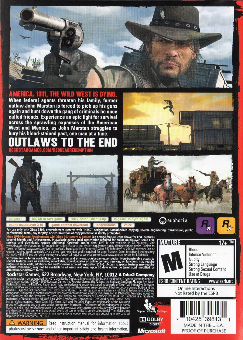 Red Dead Redemption (Special Edition) Xbox 360 Other Keep Case - Back