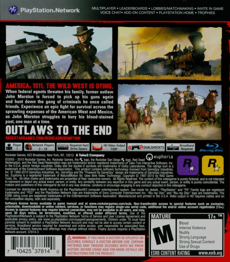Red Dead Redemption (Special Edition) PlayStation 3 Other Keep Case - Back