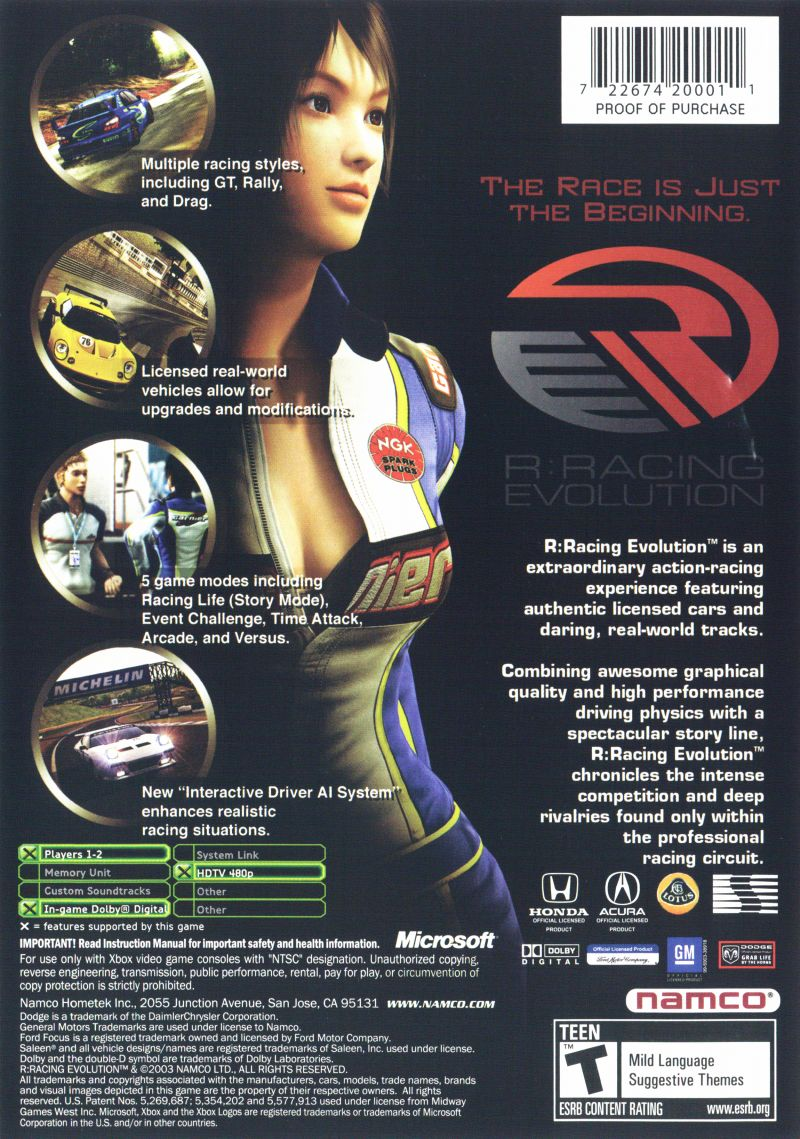R:Racing Evolution Xbox Back Cover