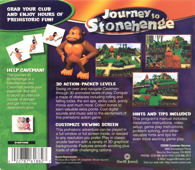 3D Caveman Rocks Windows Back Cover