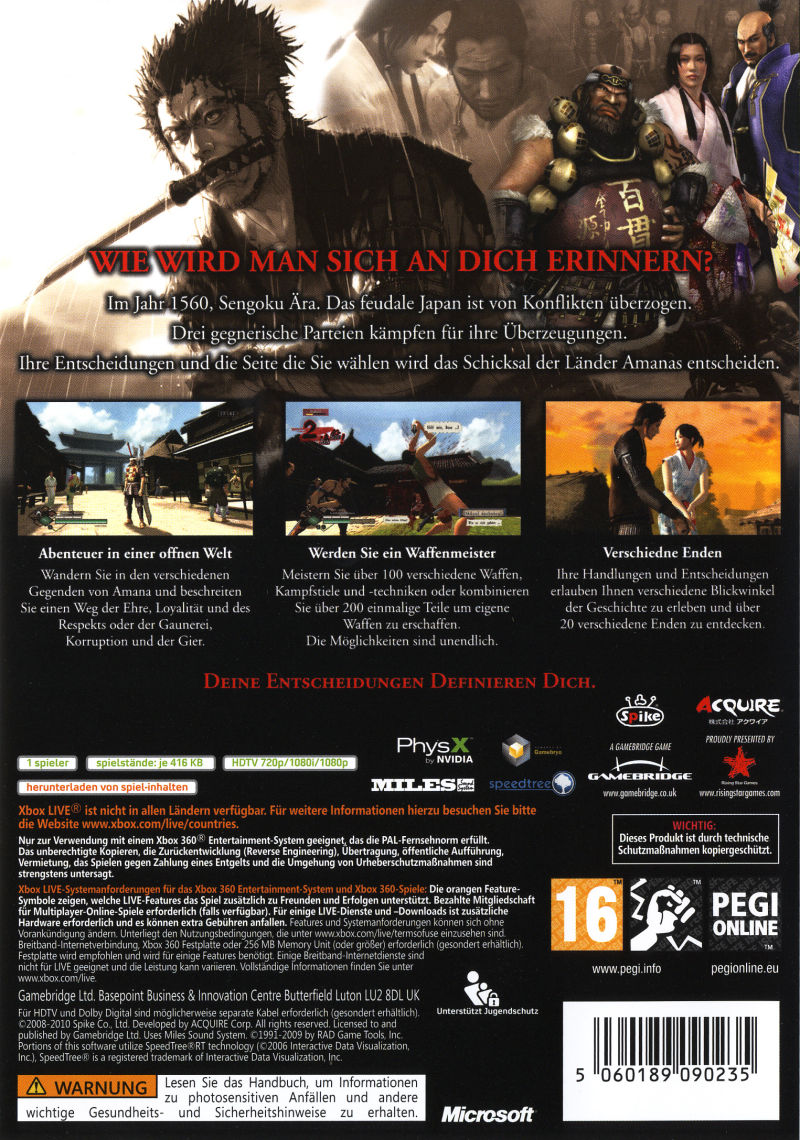 Way of the Samurai 3 Xbox 360 Back Cover