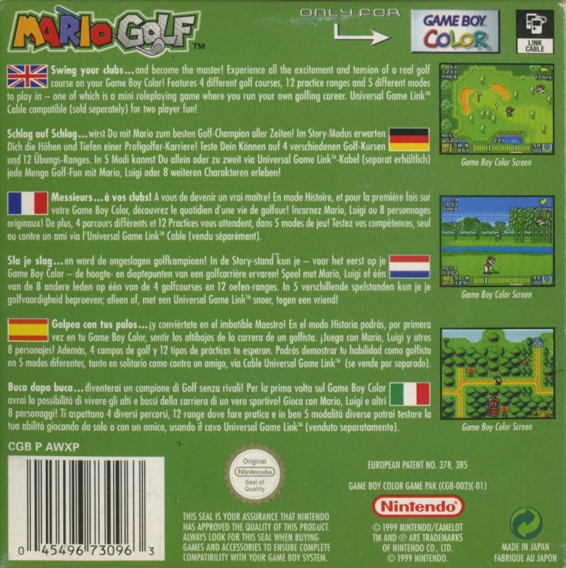 Mario Golf  Game Boy Color Back Cover