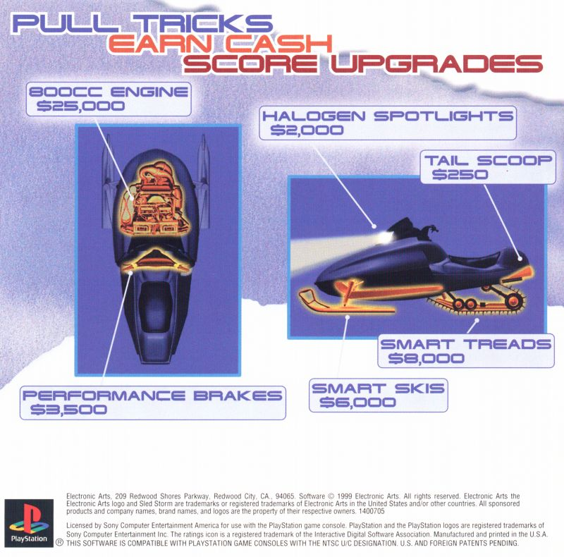 Sled Storm PlayStation Inside Cover Front Reverse