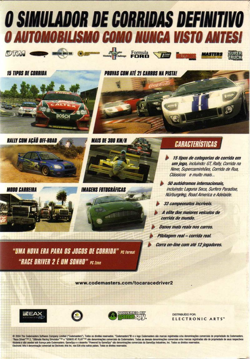 TOCA Race Driver 2 Windows Back Cover