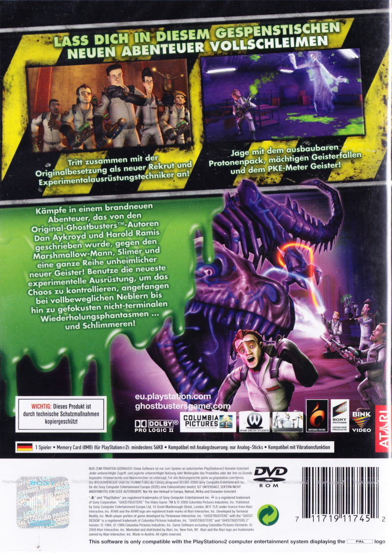 Ghostbusters: The Video Game PlayStation 2 Back Cover