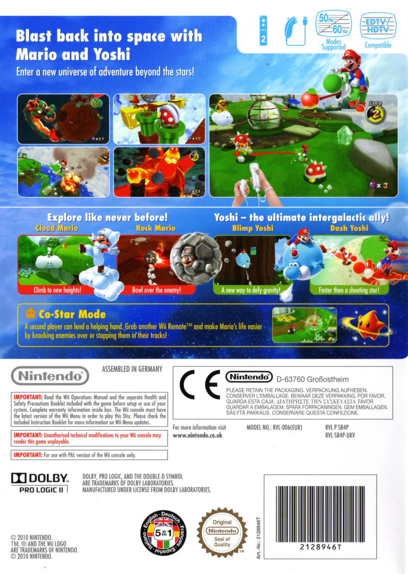 Super Mario Galaxy 2 Wii Other Keep Case - Back