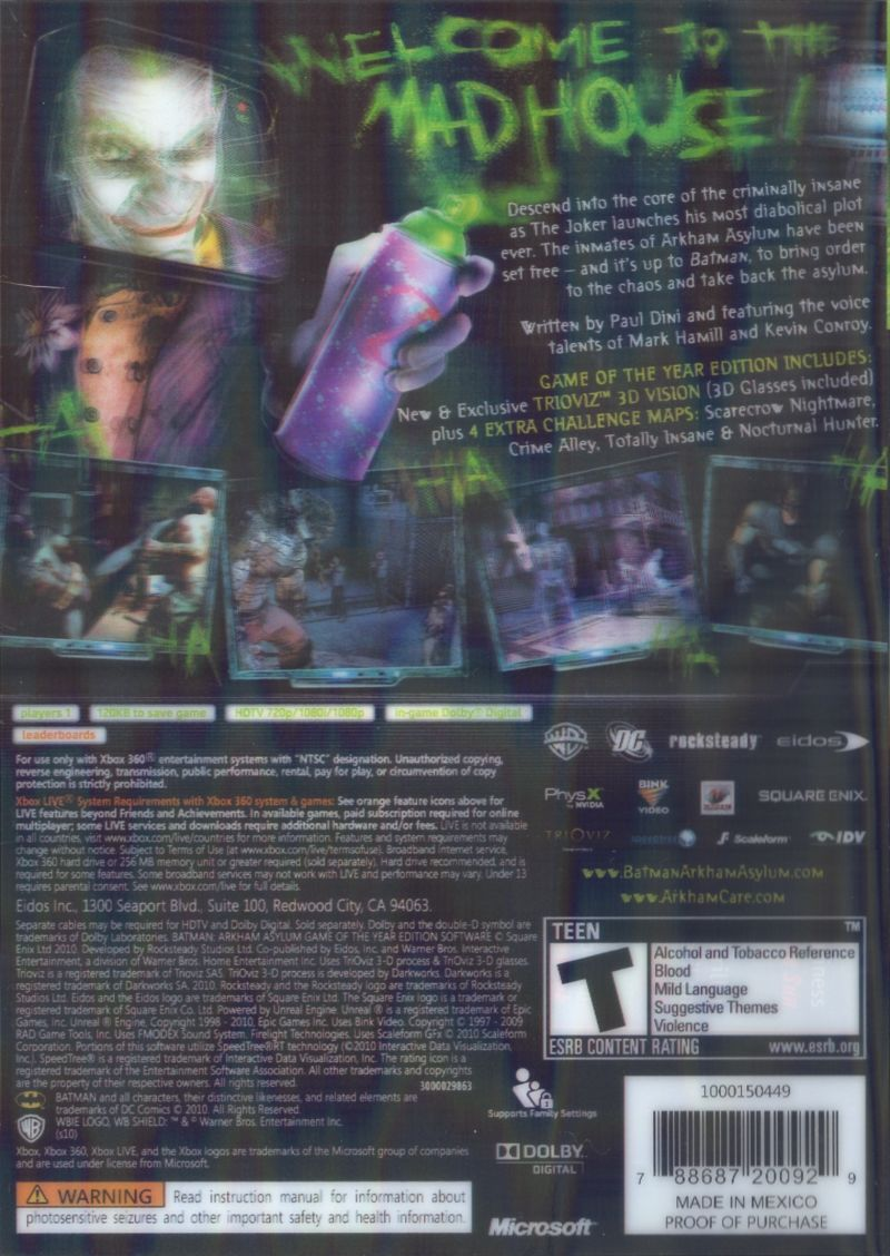 Batman: Arkham Asylum - Game of the Year Edition Xbox 360 Back Cover