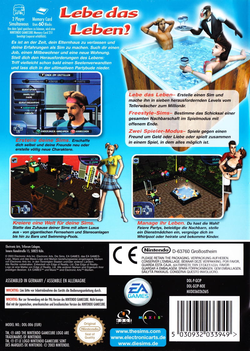 The Sims GameCube Back Cover