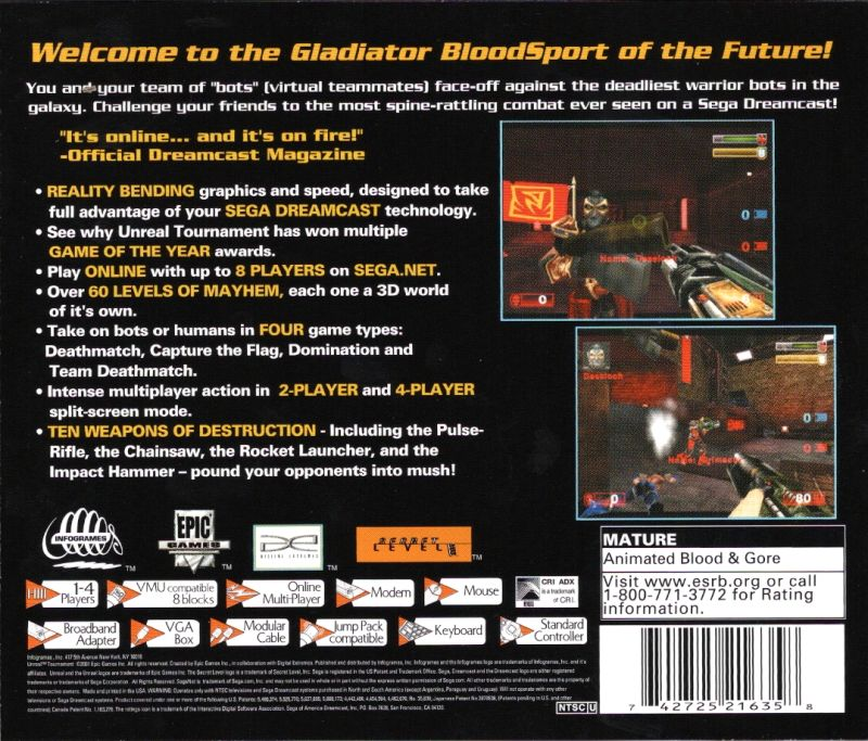Unreal Tournament Dreamcast Back Cover