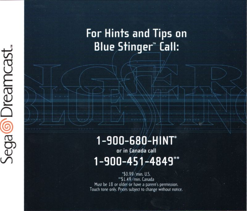 Blue Stinger Dreamcast Inside Cover