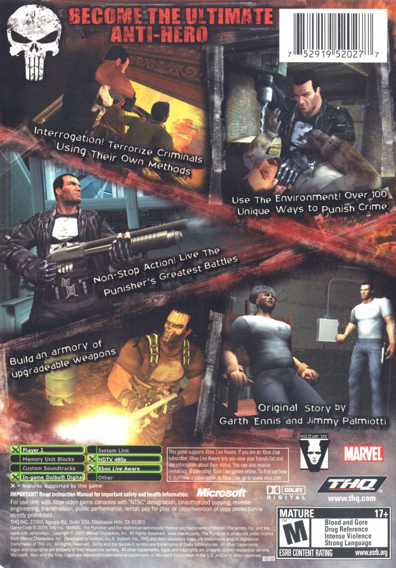 The Punisher Xbox Back Cover