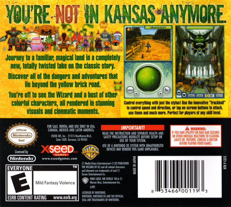 wizard of oz video game ds