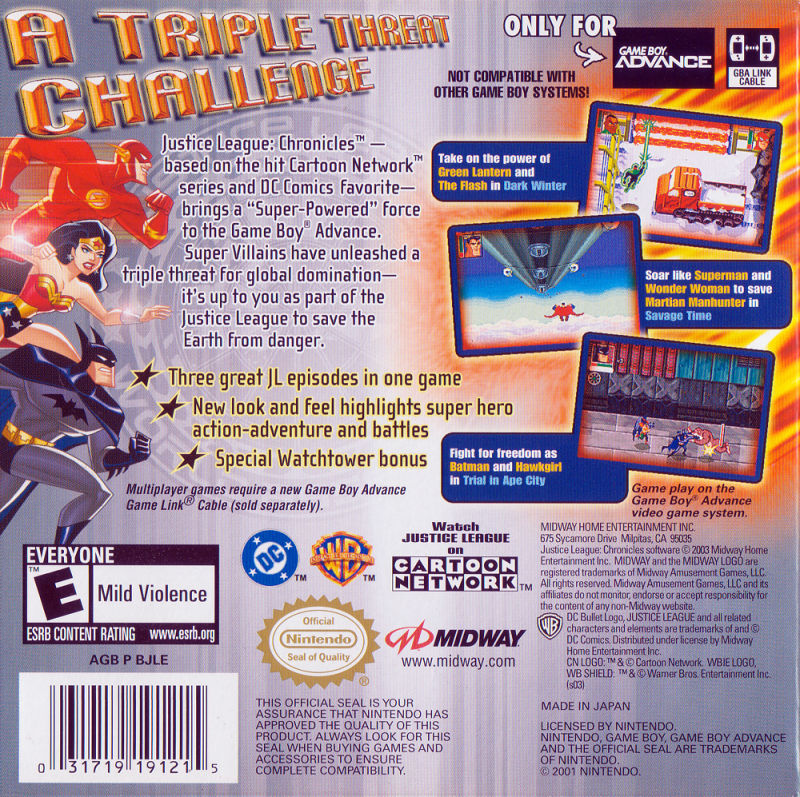 Justice League: Chronicles Game Boy Advance Back Cover