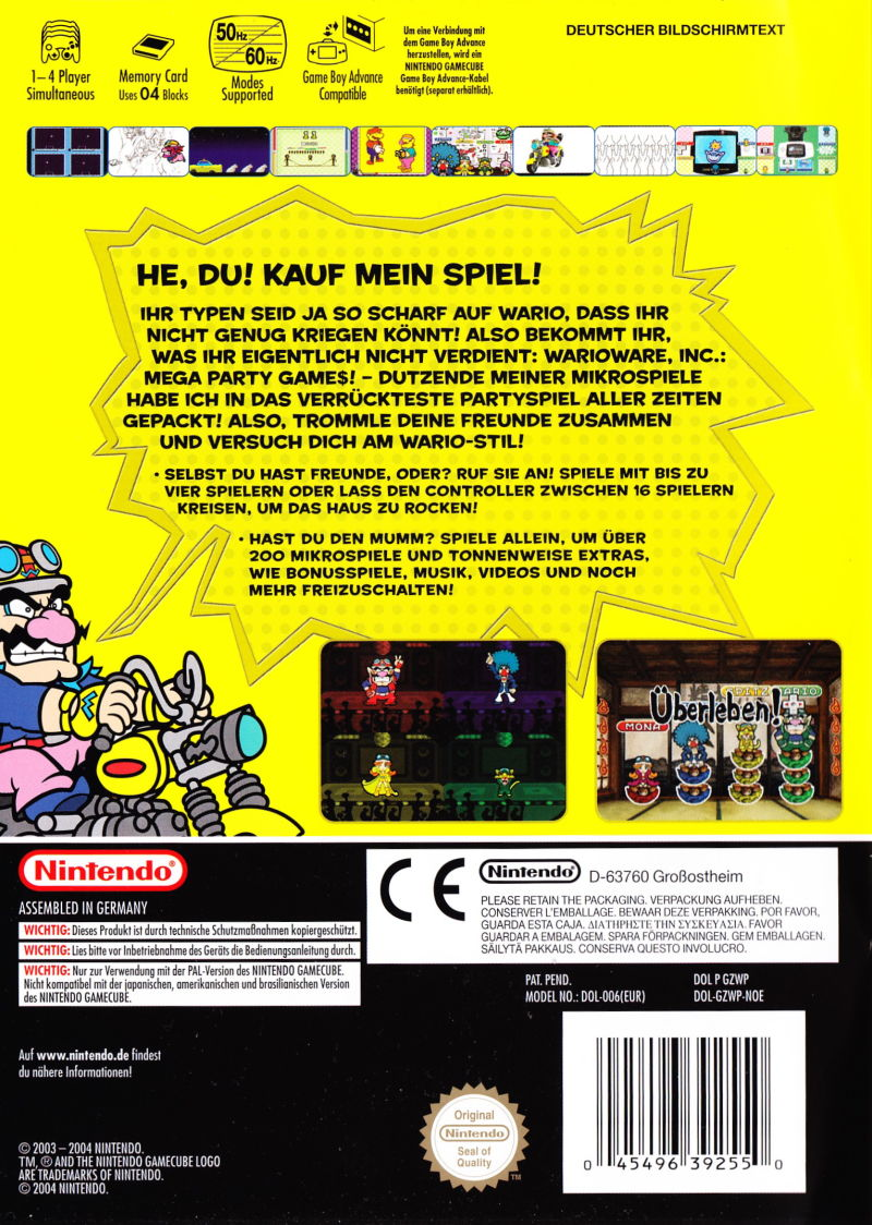 WarioWare, Inc.: Mega Party Game$! GameCube Back Cover