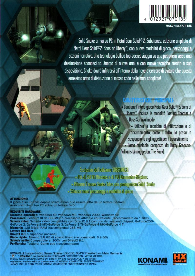 Metal Gear Solid 2: Substance Windows Back Cover