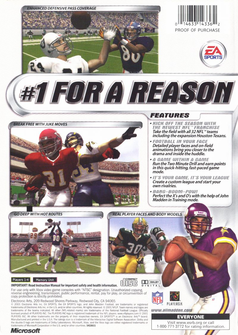 Madden NFL 2002 Xbox Back Cover