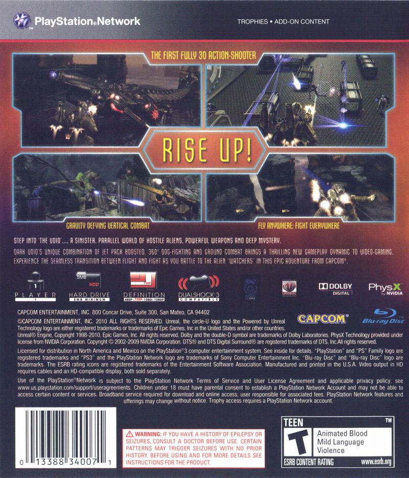 Dark Void PlayStation 3 Back Cover