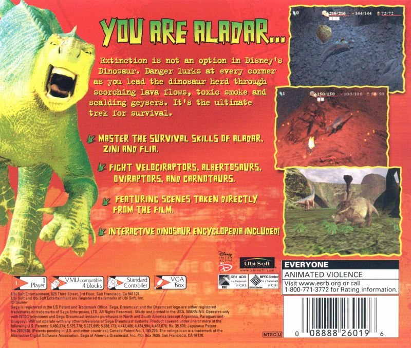 Disney's Dinosaur Dreamcast Back Cover