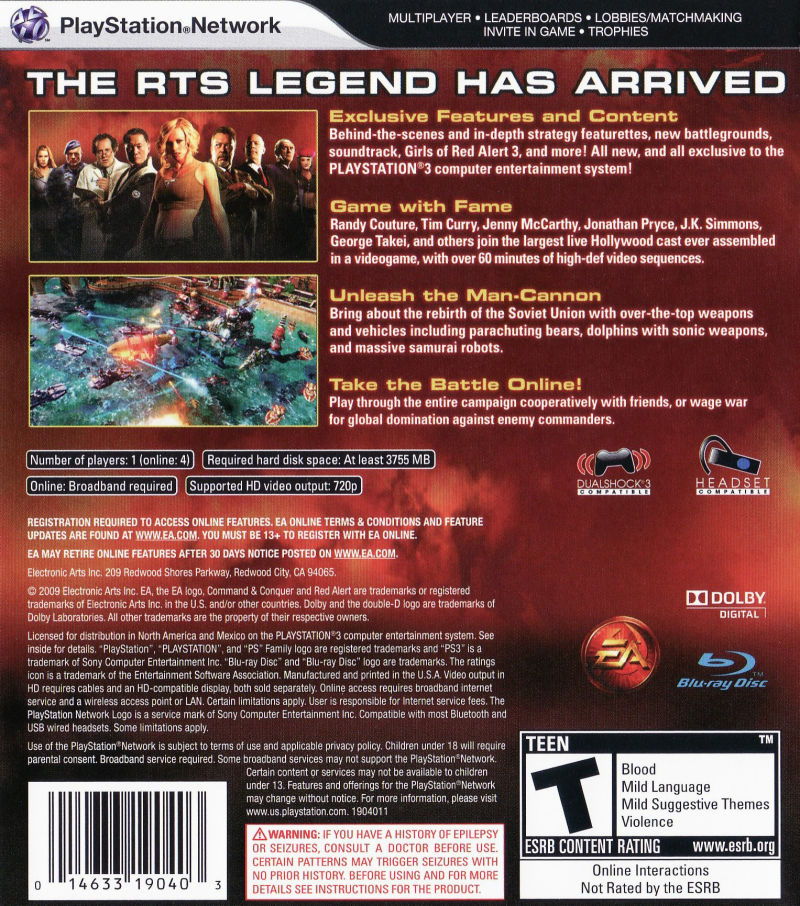 Command & Conquer: Red Alert 3 (Ultimate Edition) PlayStation 3 Back Cover