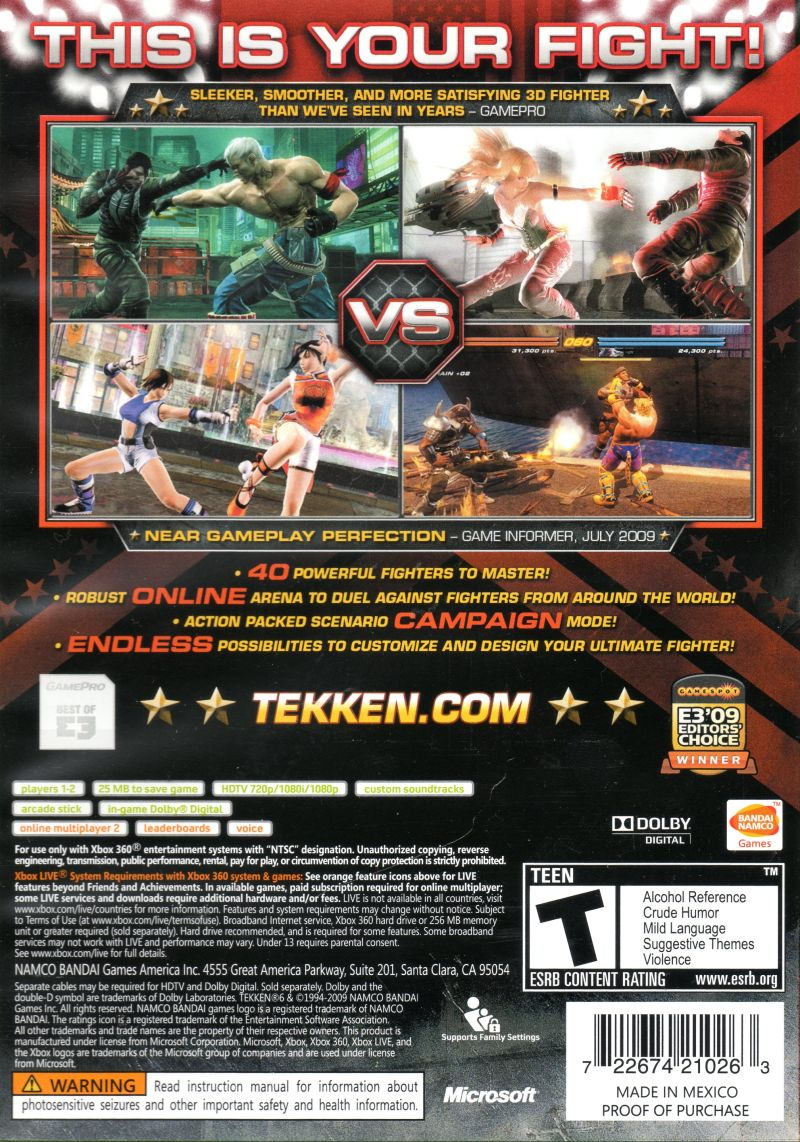 Tekken 6 Xbox 360 Back Cover