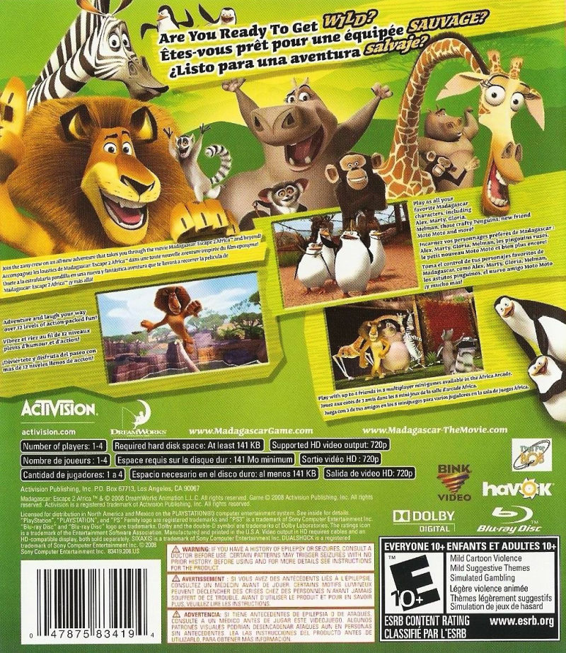 Madagascar: Escape 2 Africa PlayStation 3 Back Cover