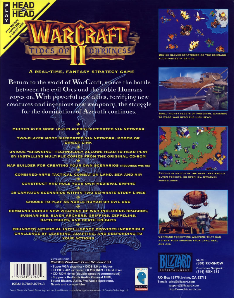 Warcraft II: Tides of Darkness DOS Back Cover