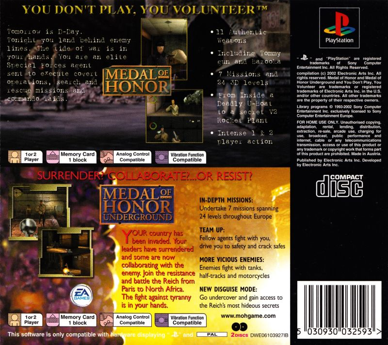 Medal of Honor / Medal of Honor: Underground PlayStation Back Cover