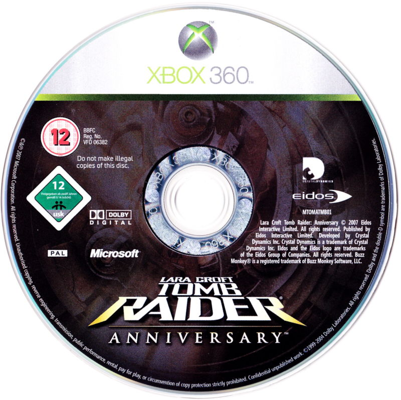 Lara Croft Tomb Raider: Anniversary Xbox 360 Media Game Disc
