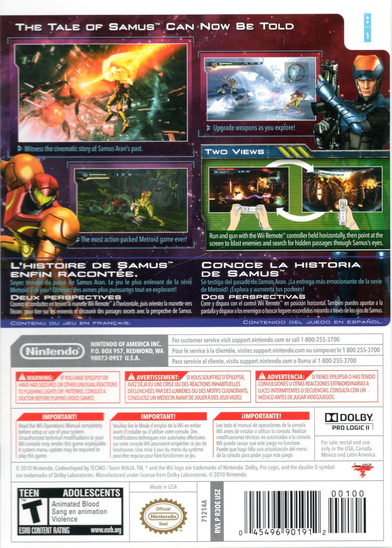 Metroid: Other M Wii Back Cover