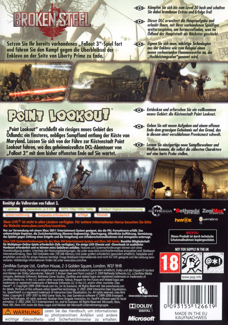 Fallout 3: Game Add-on Pack - Broken Steel and Point Lookout Xbox 360 Back Cover