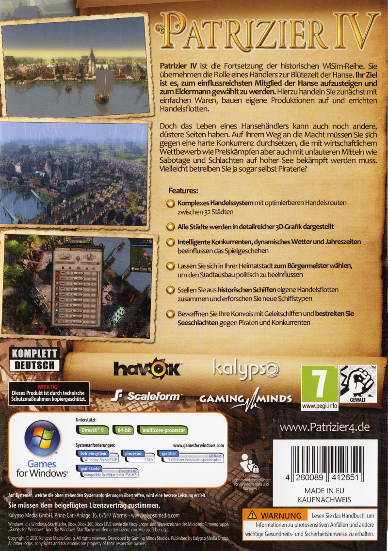 Patrizier IV (Limited Edition) Windows Other Keep Case - Back