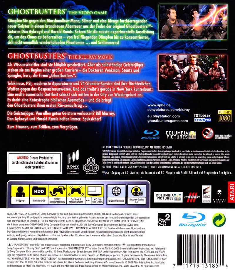 Ghostbusters: The Video Game PlayStation 3 Back Cover