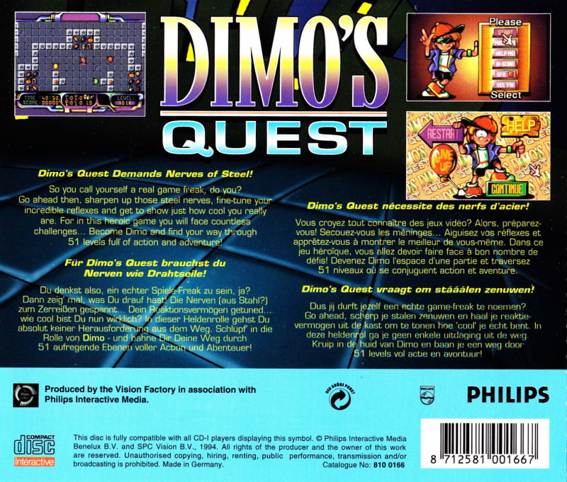 Dimo's Quest CD-i Back Cover
