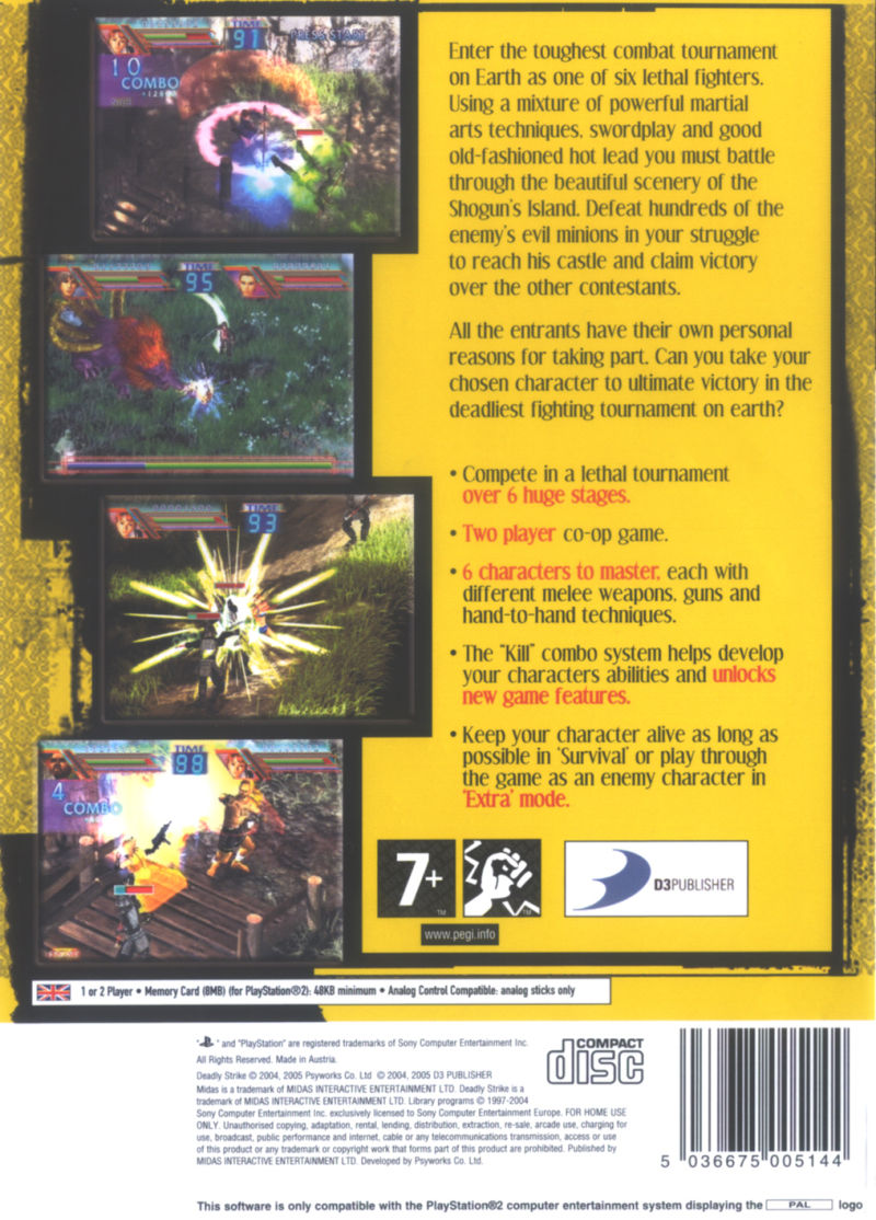 Deadly Strike PlayStation 2 Back Cover