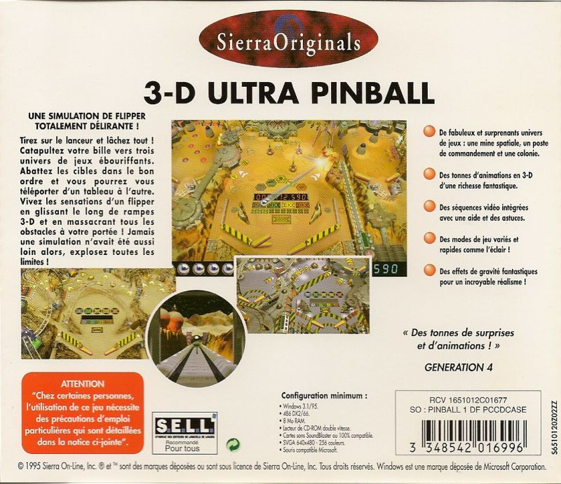 3-D Ultra Pinball Windows Other Jewel Case - Back
