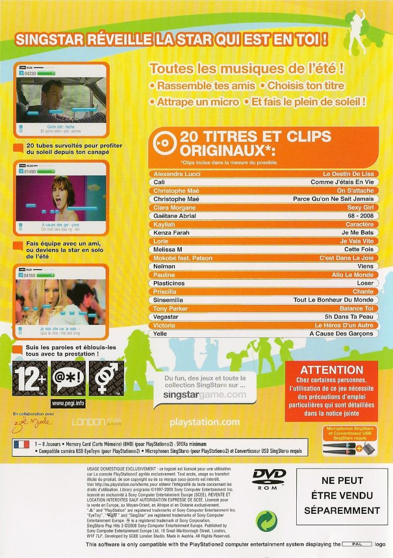 SingStar Pop Hits 3 PlayStation 2 Back Cover