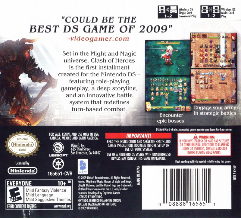Might & Magic: Clash of Heroes Nintendo DS Back Cover