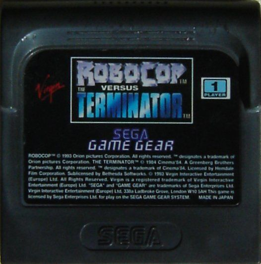 RoboCop Versus the Terminator Game Gear Media