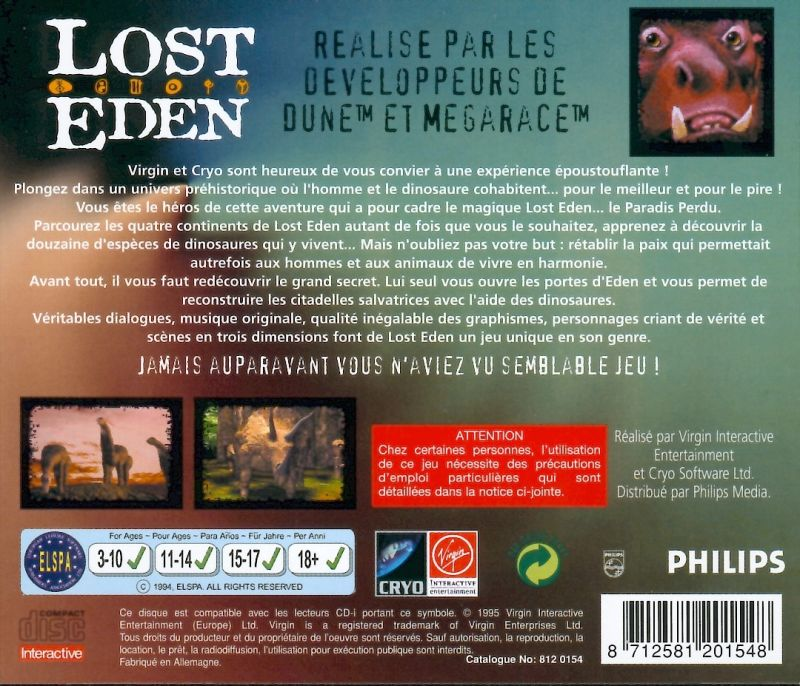 Lost Eden CD-i Back Cover