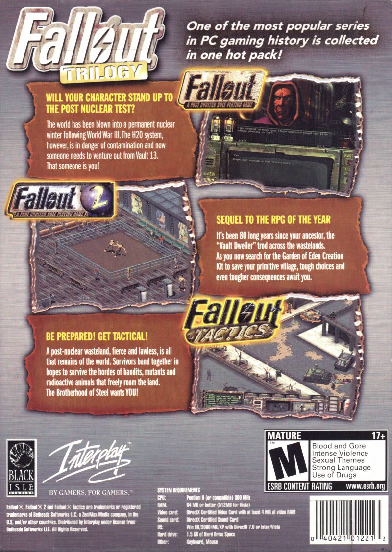 Fallout Trilogy Windows Back Cover