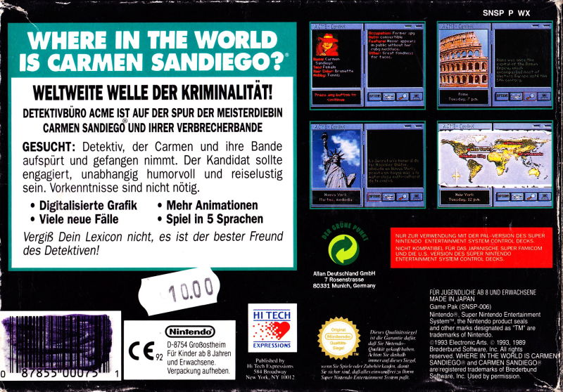 Where in the World Is Carmen Sandiego? SNES Back Cover