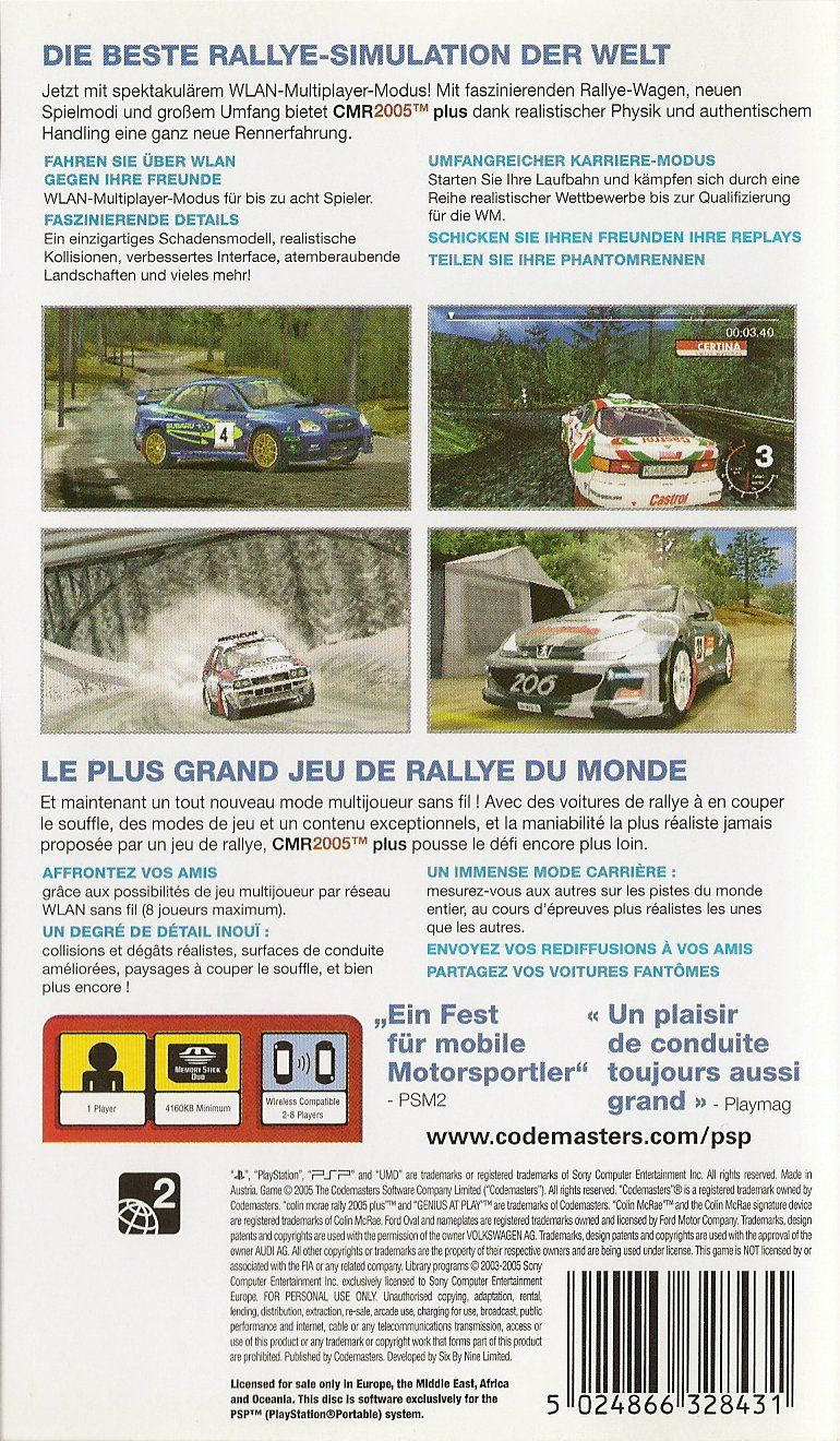 Colin McRae Rally 2005 Plus PSP Back Cover