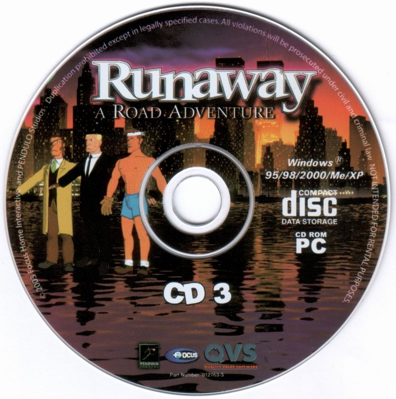 Runaway: A Road Adventure Windows Media Disc 3