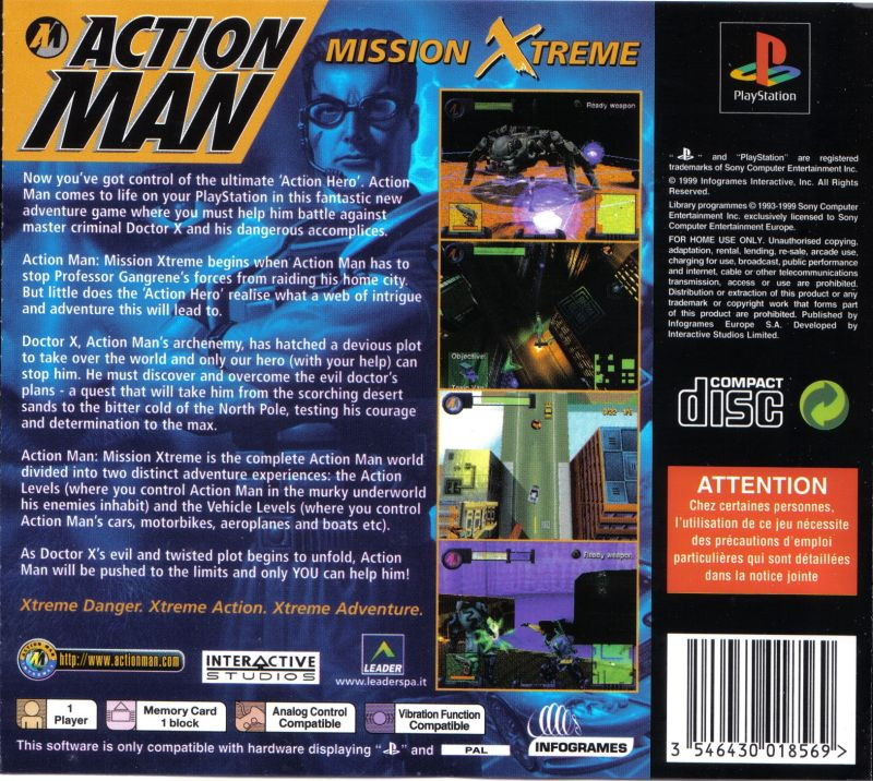 Action Man: Operation Extreme PlayStation Back Cover