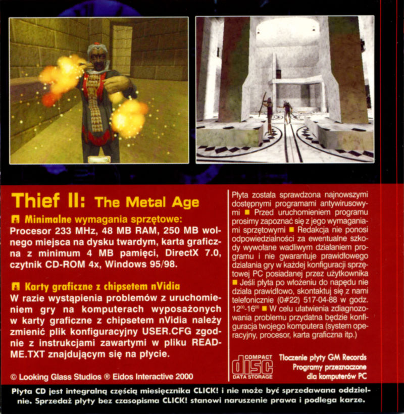 Thief II: The Metal Age Windows Back Cover Disc 2