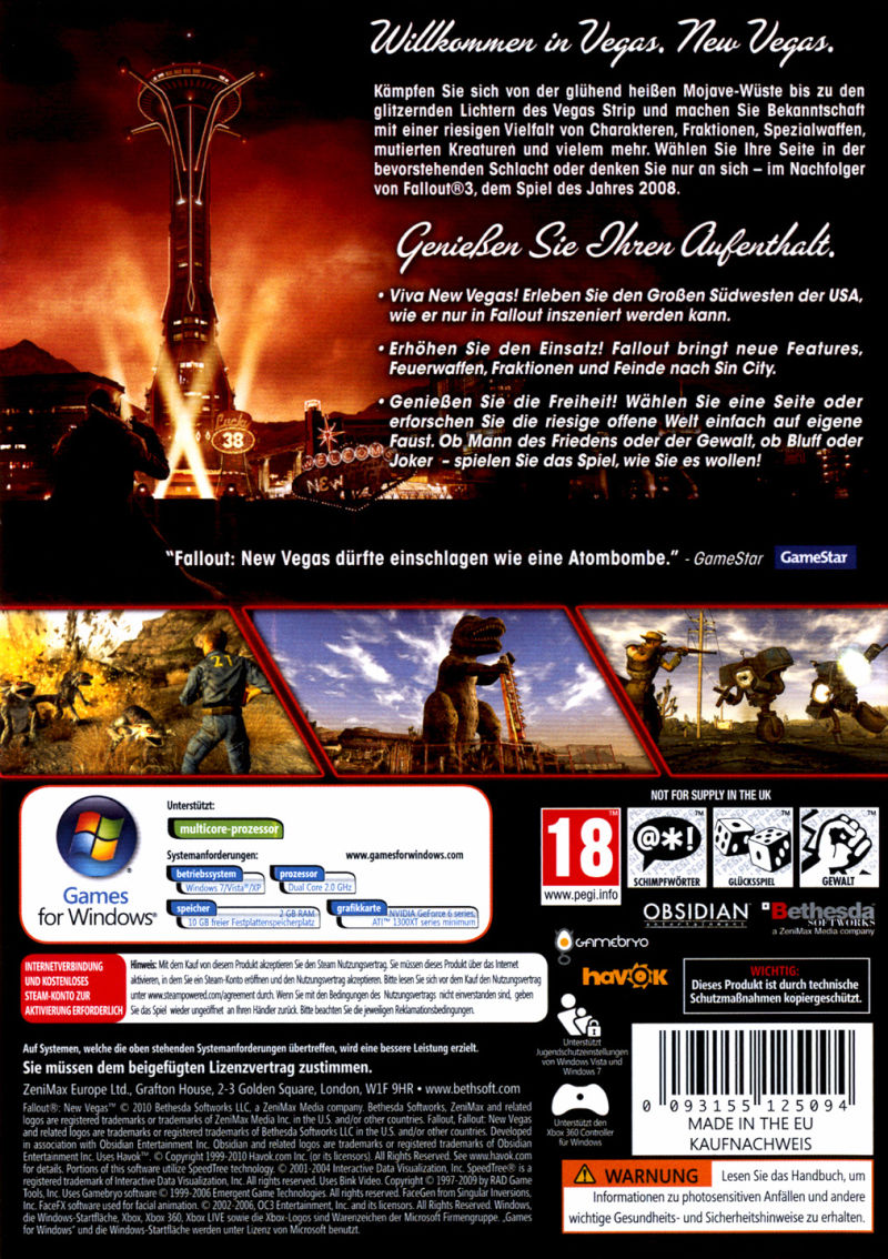 Fallout: New Vegas (Collector's Edition) Windows Other Keep Case - Back