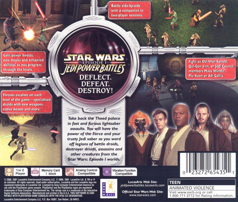 Star Wars: Episode I - Jedi Power Battles PlayStation Back Cover