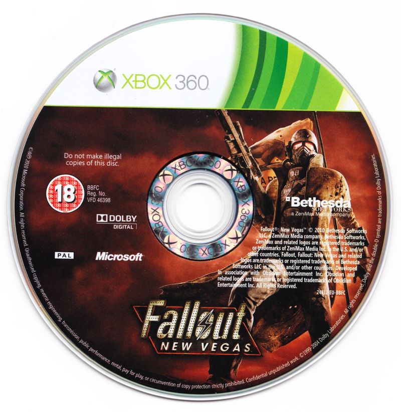 Fallout: New Vegas (Collector's Edition) Xbox 360 Media Game disc