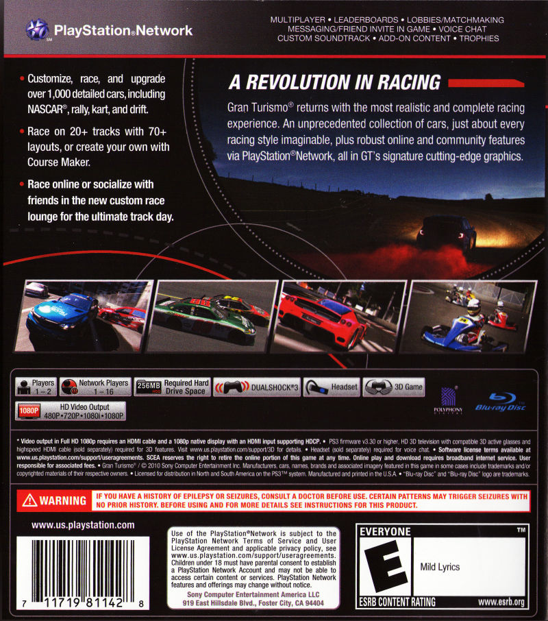 Gran Turismo 5 PlayStation 3 Back Cover